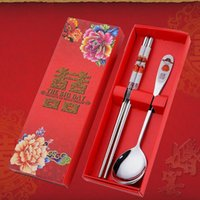 Wholesale Wholesale Chopstick Sets - Stainless Steel Dinnerware Double Happiness Red Color Spoons Chopstick Sets Wedding Party Gifts For Guest ZA5169