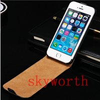 Wholesale S3 Case Real Leather - Real Genuine Flip Leather case for iphone 4 4S 5 5S iphone 6 6+ plus 5.5 Samsung Galaxy S3 S4 S5 S6 Edge Note 3 4 Pouch