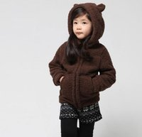 Wholesale Casual Faux Fur Hooded Pad - Girls Winter Coat Thick Warm Cotton-padded Jacket Kids Bear Ear Hooded Jacket Girl Faux Fur Coats Children Outerwear Jackets Clothes Coffee