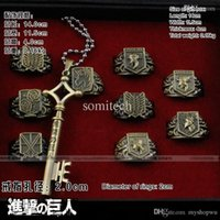 Wholesale Attack Titan Ring Necklace - Wholesale-Costume Cosplay Anime manga around key shape metal necklace and rings for Attack on Titan Investigation Corps Wings of Liberty