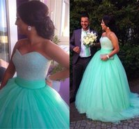 Wholesale Quincenera Dresses Blue - Hot Sale Quincenera Dresses Sweetheart Sequins Beaded Prom Dresses Ball Gown Tulle Ruched Sweep Train Party Gowns Elegant Evening Gowns