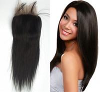 Wholesale peruvian closure for sale resale online - G EASY brazilian lace frontal closure x4 bleached knots cheap virgin human hair top closure piece for sale