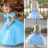 Wholesale Cinderella Dresses For Sale - 2015 Hot Sale Lovely Cap Sleeve New Movie Deluxe Cinderella Dress Cosplay Costume Party Dress Princess Dress Cinderella Costume For Kids hot