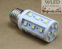 Wholesale 5w B15 Led Bulbs - DC12V 5W E27 E14 E26 B22 B15 24LED 5050 High Brightness Corn Bulb Light LED Lamp white   warm white 4pcs lot @WLED26