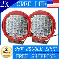 Wholesale Hid Offroad Light Spot - LED sportlight for 96W 9inch CREE LED RED Driving Spot Work Light 4WD Offroad VS Hid 100W outdoor bar light power bright SUV car light