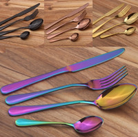 Wholesale old knifes - Stainless Steel Cutlery Set Rainbow Gold Plated Dinnerware Fork Knife Spoon Dinner Set for Wedding Party 4pcs set