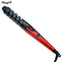 enrolladores de pelo rizos en espiral al por mayor-Ckeyin Electric Magic Hair Styling Tool Rizador de pelo Rollers Pro espiral Curling Iron Wand Curl Styler Rizador De Pelo 110 -240v P0