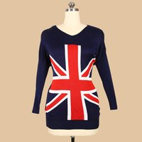 Wholesale British Flag Sweaters Women - Wholesale- Fashion British Flag knitted sweater Women's V-neck Long Sleeve Pullovers Casual Batwing Sleeve Loose Sweaters Dropship