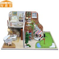 Wholesale Miniature House Lighting - Wholesale- Assemble DIY Doll House Toy Wooden Miniatura Doll Houses Miniature Dollhouse toys With Furniture LED Lights Birthday Gift X002