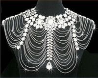 Wholesale Body Chain Jewerly - Body Jewerly Diamond Crystal Rhinestone Tassel Shoulder Chain Shawl Wrap Cape Bride Wedding