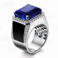 Compra Anello Di Diamanti Immobiliare-Spedizione gratuita Solid 14k White Gold Natural Estate Colore blu Tanzanite Diamond Vintage Ring (R0035)