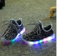Wholesale Cool Shoes For Boys - 2017 New fashion cool mesh children sneakers LED lighting casual shoes lace up glowing kids baby girls boys for 1-10 years