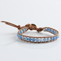Wholesale Ethnic Charms Beads - Wholesale-New Ethnic 1 Strands Leather Agate 6mm Beads Weave Wrap Bracelet for Women and Men Handmade Friendship Bracelets Gift Jewelry