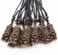 Wholesale New Zealand Bone Necklaces - Wholesale 12pcs LOT Imitation Yak Bone Carved New Zealand Maori Tiki Totem Pendant Necklace Amulet MN413