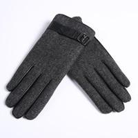 guantes de lino de invierno al por mayor-Al por mayor-Guantes de cuero Hombre 100% guantes de cuero de cabra Mantener caliente Caída y el invierno Conducción de lino fino Guantes cortos Envío gratuito