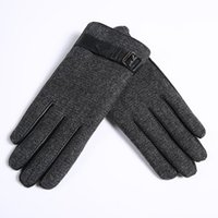Wholesale men s fingerless leather gloves - Wholesale-Leather Gloves Male 100% Goat Leather Gloves Keep Warm Fall And Winter Driving Thin Linen Short Gloves Free Shipping