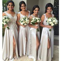 Wholesale Charm Flowing Dress - Charming Flow Chiffon A Line Bridesmaids Dresses 2016 Elegant Long Side Slit Sheer Neck Wedding Party Gowns with Lace Appliques Plus Size
