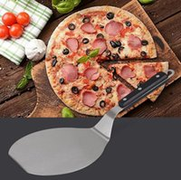 Wholesale pizza plastic - Stainless Steel Cake Shovel Plastic Handle Pizza Peels Cheese Cutter Peels Lifter Tools Pizza Shovel Baking Tools LJJO3689