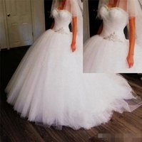 Wholesale Lace Tulles Wedding - Gorgeous Puffy Tulles Skirt Ball Gown Wedding Dresses 2016 Spring Summer Sexy Sweethert Sequins Beaded Plus Size Bridal Gowns Custom Made