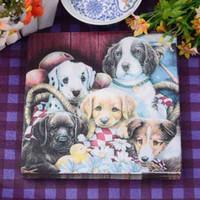 Wholesale Dog Online - Decorative Art Paper Napkin Placemats Happy Dog Family 2 Layers Disposable Color Serviettes Mats Online SD922