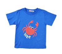 Wholesale Crab Baby Clothes - Retail boys Crabs T-shirts 2015 summer style children clothing short sleeve kids t shirts cotton cartoon baby boy clothes for 2-6T 201508HX