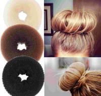 çarpılmış saç toptan satış-24 adet Saç Hacimli Scrunchie Donut Yüzük Tarzı Bun Toka Poof Snooki Yumru