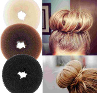 Wholesale donut hair bun styles online - 24pcs Hair Volumizing Scrunchie Donut Ring Style Bun Scrunchy Poof Bump It Snooki
