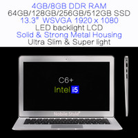 DHL in azione 13.3inch i5 Intel 8gb ram 512GB SSD Laptop LED backlight LCD Win7 / Win8 Notebook ultra sottili (C6 + i5)