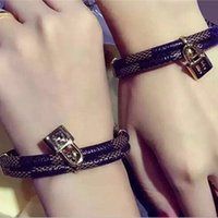 Wholesale Leather Snake Bracelets For Men - women and men adjustable bangle 316 stainless titanium steel bracelet bangle adjustable love with key leather bangle for women magnet bangle