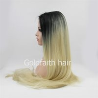 Wholesale Synthetic Front Hair - Long Ombre Synthetic Hair Blonde Wig Straight Wig Lace Front For White Women