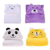 Wholesale large fleece blankets wholesale - Wholesale- Lovely fleece baby bath towel Baby Blanket Soft Cashmere Hooded Cloak Infant Baby Windshield Bath Towel Cotton Bath Blanket Warm