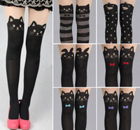 Wholesale Tattoo Print Stockings - Wholesale-Sexy Cat Tattoo Socks Sheer Pantyhose Mock Stock