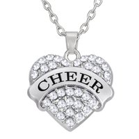 Wholesale Cheer Necklaces - Hot Sale Factory Price Rhodium Plated Mixcolor Heart Crystal Pendant Text CHEER Necklaces For Woman Jewelry