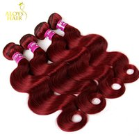 Wholesale Burgundy Red Hair Color Extension - Burgundy Indian Hair Weave Bundles Grade 8A Wine Red 99J Indian Virgin Hair Body Wave 4Pcs Lot Indian Mink Remy Human Hair Extensions