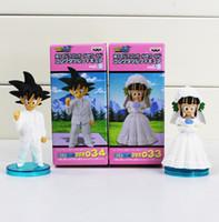 Wholesale Wholesale Pvc Anime Figures - Anime DRAGON BALL Son Goku ChiChi Wedding scene WCF DWC7 PVC Dolls Toys Action Figure Free shipping