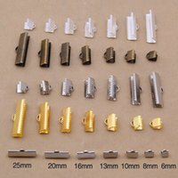 Wholesale Silver Tooth Bracelet - DIY 6mm-25mm 4 colors gold silver bronze Horse buckle open tooth clips Jewelry Findings bracelet clamp leather rope 300pcs lot