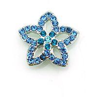 ingrosso braccialetti a bottone a scatto blu-Moda 18mm Bottoni a pressione blu strass fiore metallo Casp fai da te braccialetti interscambio accessori gioielli