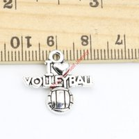 voleybol kolye takılar toptan satış-20 adet Tibet Gümüş Kaplama Kelime I Love Voleybol Charms Kolye Takı Yapımı için DIY El Yapımı 19x21mm A125 Takı yapımı DIY