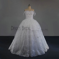 best sweetheart appliqued lace wedding dress  - 2017 Sweetheart Ball Gown Wedding Dresses Nude Shoulder Sleeveless Lace Appliqued Crystals Handmade Flowers Lace-up Sweep Train Bridal Gowns