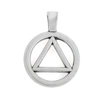 Wholesale Alcoholics Anonymous Triangle In Circle Symbol Silver Plated Charm Pendant Accessory Antique For Jewelry Making