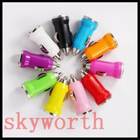 Wholesale Car Charger Micro Usb Cell - Micro Auto Mini USB Bullet Car Charger Adapter for iphone Samsung Galaxy cell phone Mp3 Mp4
