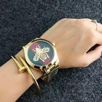 Wholesale Girls Wrist Bands - Fashion brand honeybee bee style Women's girl steel band quartz wrist watch GU24