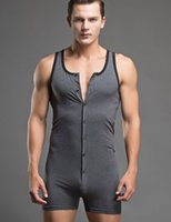 Wholesale Sexy Leotard Men - men sexy underwear fashion cotton Onesies hombres leotard shapers vest pajamas tracksuit man Body Shapers grey