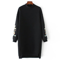 Wholesale Fleece Turtleneck Women - 2017 Autumn and winter Europe and America women's turtleneck Thickening embroidery jacket a long paragraph sweater