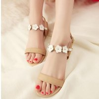 Chaussures Sexy Flat Sandal pour les femmes sexy Casual Ouvrir Toe Shoes Robe Summer Flower Vente Hot style doux Sandales