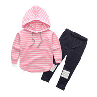 Wholesale baby boy leopard clothes for sale - Baby Clothes Set Autumn Spring Girl Boys Cotton Stripe Hoodie Tops Patch Pants Outfits Sets Colors