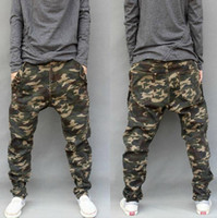 Wholesale Hanging Pants Men - New army fashion hanging crotch jogger pants patchwork harem pants men crotch big Camouflage pants trousers HOT