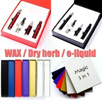 Wholesale Electronic Cigarette Vapor Liquid - Top quality magic 3 in 1 Kit wax dry herb e liquid 3in1 with MT3 AGO G5 glass globe evod battery vaporizer Electronics cigarettes vapor DHL