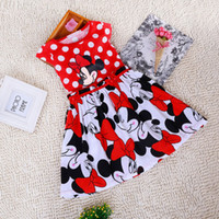 Wholesale Minnie Mouse Tutu Wholesale - Free Shipping Summer Clothing Baby Girls Dress Lovely Color Dot Mickey Mouse Minnie Dress Baby Clothes Kids clothing A-0174