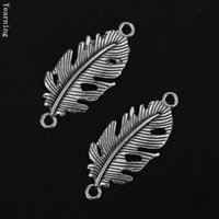Wholesale Vintage Nacklace - Jewelry Findings Vintage Silver Alloy Leaf Connector Charms Fit Nacklace Bracelet 33*13MM 50pcs lot